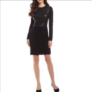 Antonio Melani Leather Ponte Long Sleeve Dress 4